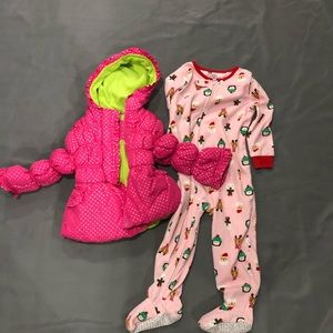 Girl's Winter Bundle Set, Jacket and PJs